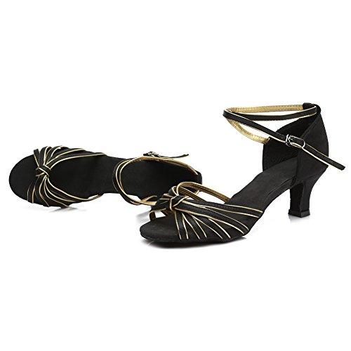Dance 217 Ballsaal Damen D7 gold Schuhe HROYL Modell Tanzschuhe Schwarz Latin Satin 5cm Y4zwqqtZ