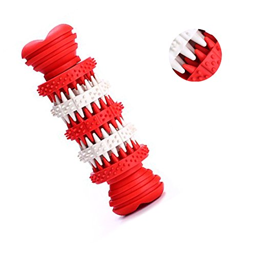 Neepanda Durable Dog Chew Toys - Soft Natural Health Rubber Bones - Treat Boredom Food Dispensing Toys for Dogs Tooth Cleaning and Aggressive Chewers (5.9'' x 1.9'', Red) by Neepanda