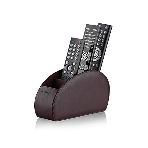 Remote Control Holder with 5 Compartments (Brown) - PU Leather TV Remote Organizer - Remote Caddy Desktop Organizer for TV Remote, DVD, Controllers - Media Accessory Storage & Organizer by SONOROUS (Organizer Control Remote Leather)