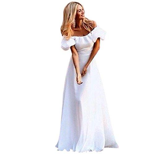 TOTOD Women White Dress Women Maxi Boho Floral Summer Beach Long Skirt Evening Party Dress