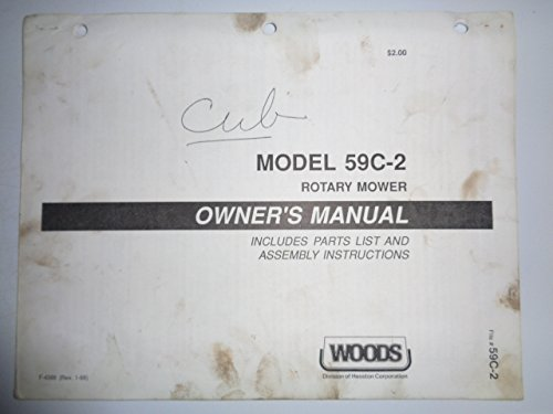 Mower Parts Catalog Manual - Woods 59C-2 Rotary Cutter Mower (for IH Cub tractor) Operators/Parts Owners Manual F4388