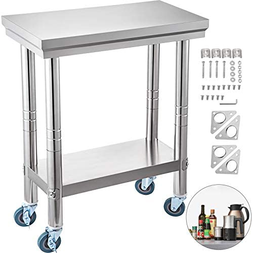 VEVOR Arbeitstisch 300 x 600 x 70 mm Edelstahl Catering Arbeitstisch Belastbarkeit 350 kg, Lebensmittel Zubereitungstisch mit Nachlauf Gewerbliche Arbeitstisch für Küche Bar 4 verstellbare Füße