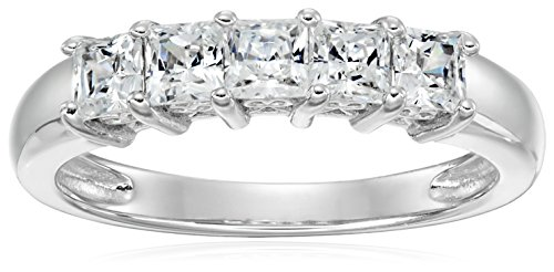 Platinum-Plated Sterling Silver Swarovski Zirconia 1 cttw Princess Cut 5 Stone Ring, Size 7 (Stone Ring Cz Five)