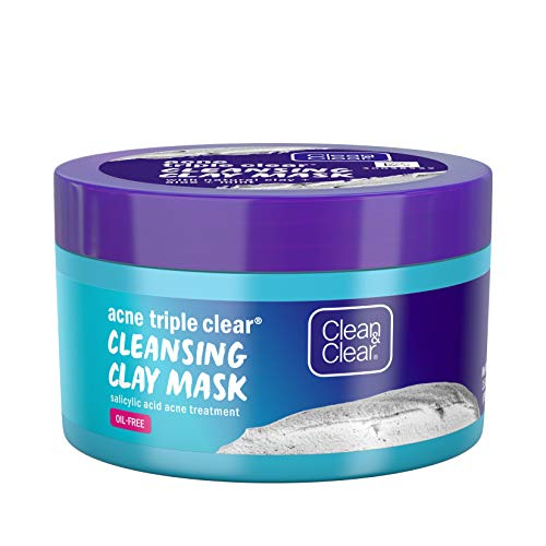 Clean & Clear Acne Triple Clear Cleansing Clay Acne Face Mask with Natural Clay, Aloe, Mint, Glycerin Skin Conditioner, and Salicylic Acid Acne Treatment to Fight Breakouts, Oil-Free, 3.5 oz (3 Pack) (Best Clay For Acne)