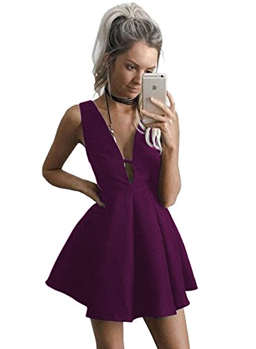 YORFORMALS Women's V-Neck A-line Satin Formal Party Dress Short Evening Ball Gown Ruched Skirt Size 14 Plum Lined V-neck Skirt