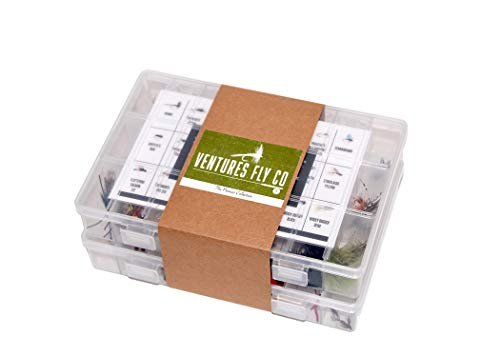 Ventures Fly Co. | 122 Premium Hand Tied Fly Fishing Flies Assortment | Two Fly Boxes Included | Dry, Wet, Nymphs, Streamers, Wooly Buggers, Terrestrials | Trout, Bass Lure Set, Kit