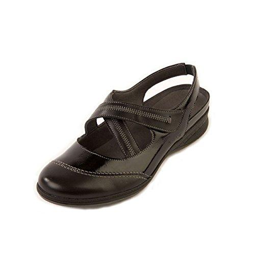 cordones mujer para black de Suave patent Zapatos negro 8zvxTxRqw