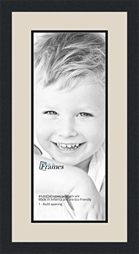 Art to Frames Double-Multimat-667-844/89-FRBW26079 Collage Photo Frame Double Mat with 1 - 8x20 Openings and Satin Black - Rectangular Frame