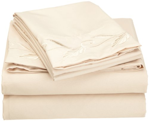 Cathay Home Fashions Luxury Silky Soft Leaf Design Embroidered Microfiber Full Sheet Set, Cream