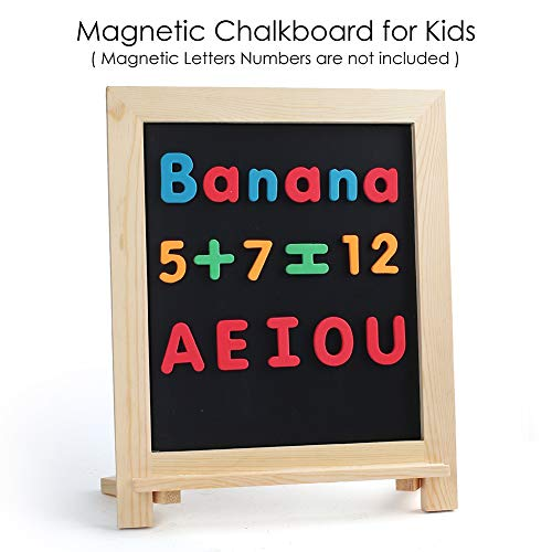 """Rustic Chalkboard Sign, 15""""x12"""" Standing Wood Framed Blackboard with Chalk Marker and Magnets, Magnetic Chalk Board Easel for Menu Kitchen Wedding Home Décor, Tabletop or Wall Hanging Display"""