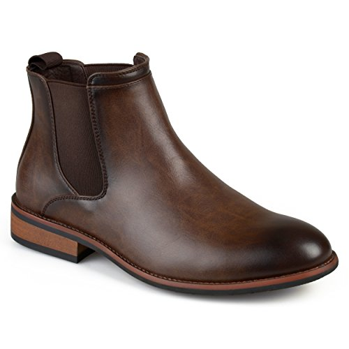 - Vance Co. Mens Faux Leather High Top Round Toe Chelsea Dress Boots Brown, 11 Wide Width US