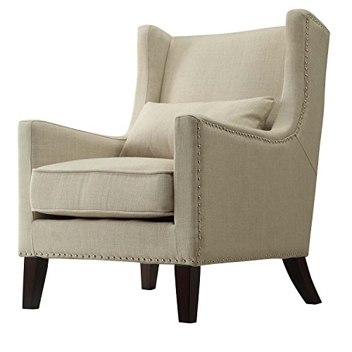 Contemporary Cream Linen Upholstered Accent Wingback Chair with Silver Nailhead Detail & Accent Pillow Includes ModHaus Living (TM) Pen