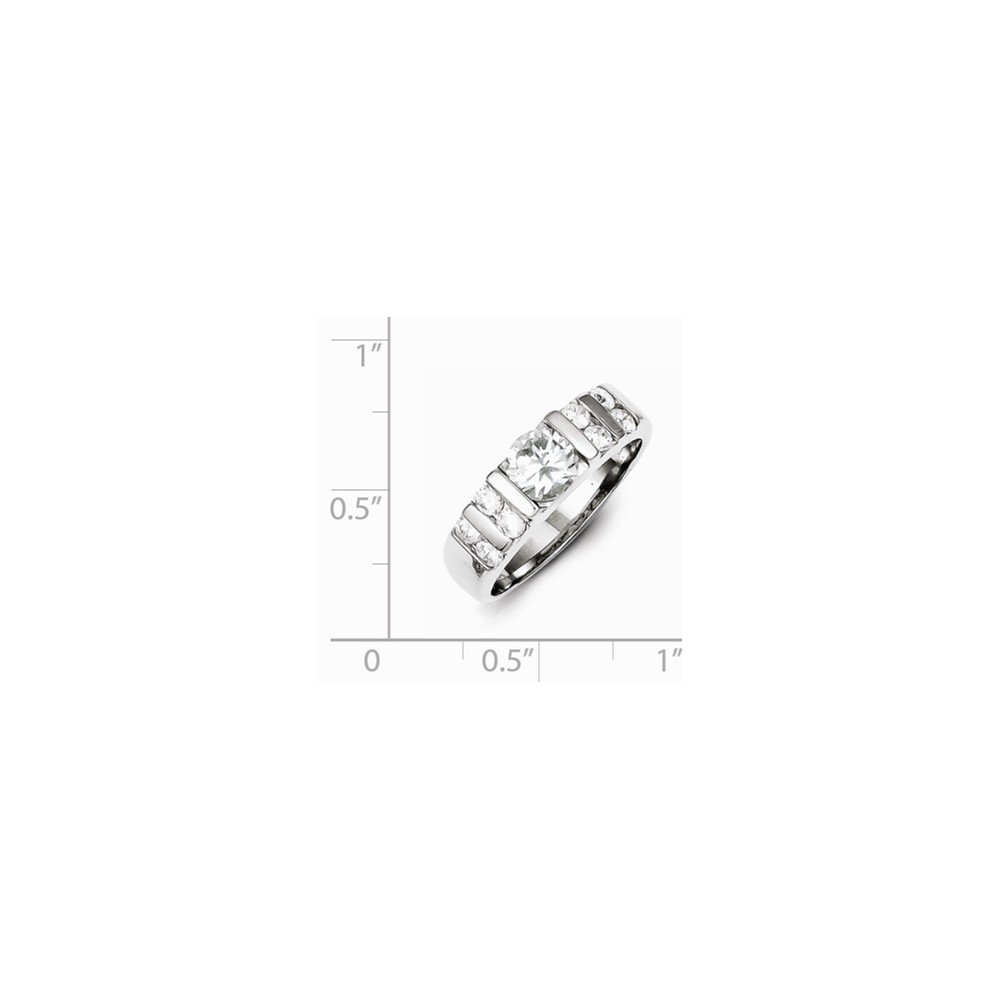 Sterling Silver Fashion Ring 6 mm CZ Ring