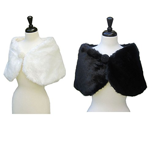SACASUSA(TM Bridal Faux Fur Shawl with Beading Embellishment in 2 Colors