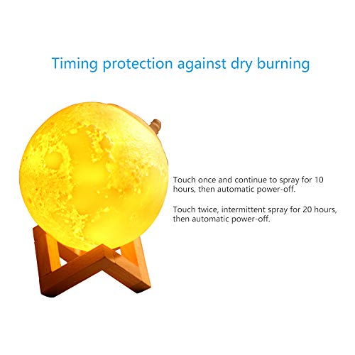 Bluefeel USB Humidifier 3D Printing Moon Lamp USB LED Night Light Humidifier with Touch Sensor Switch, 3 Colors Night Light, Wood Holder for Living Room, Bedroom, Office