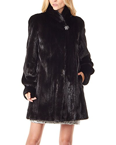 Classic Womens Mink Coat (Frr Elaine Classic 3/4 Length Mink Coat In Black - Medium)