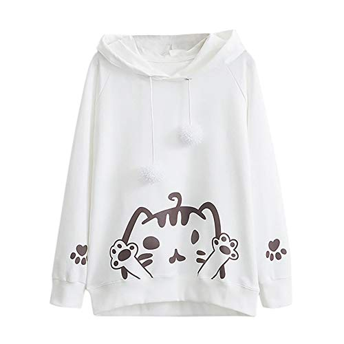 - Clearance!Youngh New Womens Sweatshirt Cat print Solid Loose Long Sleeve Hairball Casual Hooded Blouse T Shirt Tops Sweatshirt