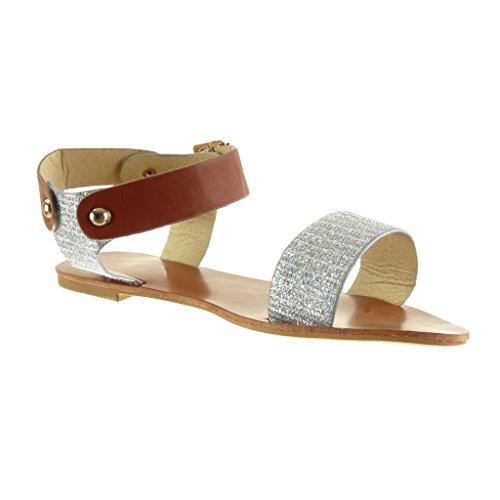 Angkorly - Chaussure Mode Sandale lanière cheville femme pailettes clouté boucle Talon bloc 1 CM - Argent