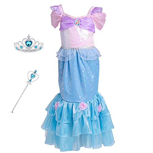 Little Mermaid Costume Pink Dress (Mermaid Costume Princess Ariel Generic Dress with Crown and Magic Wand for Little Girls Party Fangle (Size 6))