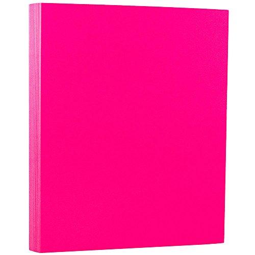 JAM PAPER Neon 43lb Cardstock - 8.5 x 11 Coverstock - Pink Neon Fluorescent - 50 -