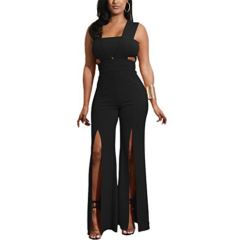 Aro Lora Women's Sexy Outfit Sleeveless Strapless Crop Top + Slit Long Wide Leg Pant Jumpsuit Romper Large Black