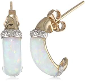 10k Yellow Gold Simulated Opal and Diamond Earrings