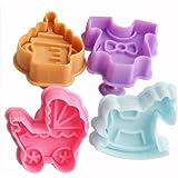 Znu Lot de moules à gâteaux thème bébé 1,77 x 1,81 x 1,93 x 1,93
