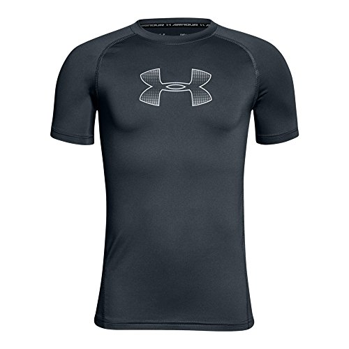 Under Armour Boys Heatgear Armour Short Sleeve Fitted Shirt, Stealth Gray (008)/Steel, Youth Large (Youth Boys Athletic Shorts)