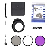 Acouto 58mm UV CPL FLD Lens Filter Kit with Pouch Lens Cap Hood Photography Tackle