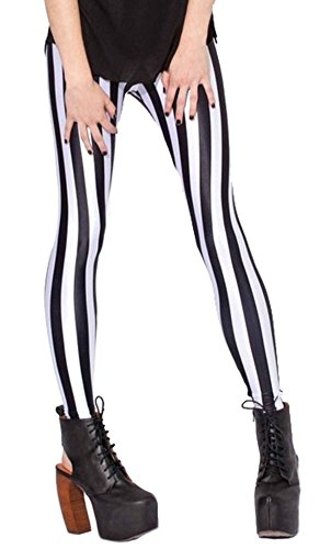 Sister Amy Women's High Waist Geometric Printed Ankle Elastic Tights Leggings Black/White Stripes US M -