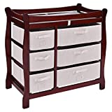Cherry Sleigh Style Baby Changing Table Diaper 6 Basket Drawer Storage Nursery Wood, Polyester Foam Changing pad and Safety Belt Included Easy to Clean