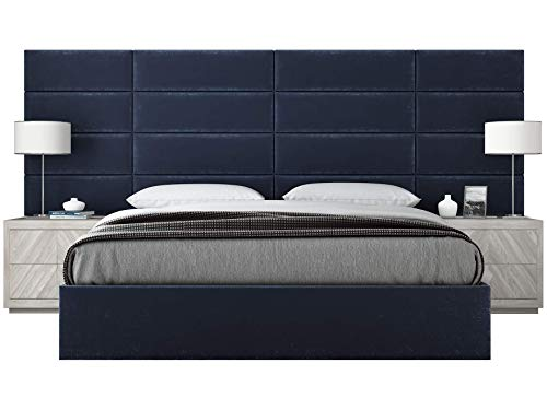 Vänt Upholstered Wall Panels - Queen/Full Size Wall Mounted Headboards - Plush Velvet Navy - Pack of 4 Panels (Each Individual Panel 30