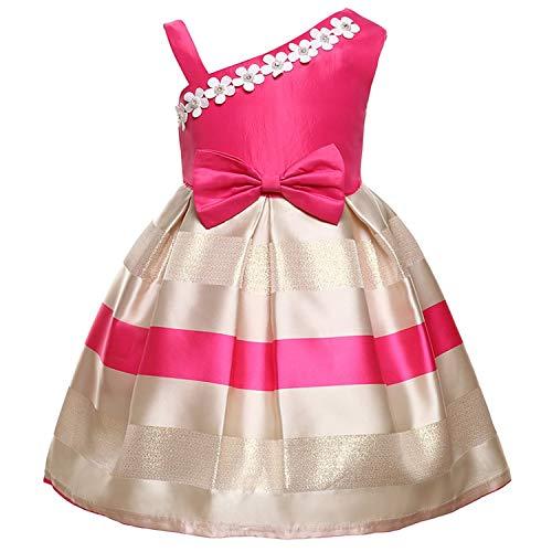 Girls Dress Backless Floral Flare Sleeve Bow Kids Dresses for Girls Princess Dress,Rose,9 -