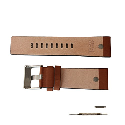MSTRE NP67 24mm/26mm Calfskin Leather Watch Band Suitable for Men's Diesel Watches (24mm, Brown) by MSTRE (Image #4)
