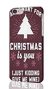 """All I Want For Christmas Is You Pattern Image - Protective 3d Rough Case Cover - Hard Plastic 3D Case - For iPhone 6 Plus- 5.5"""" inches"""
