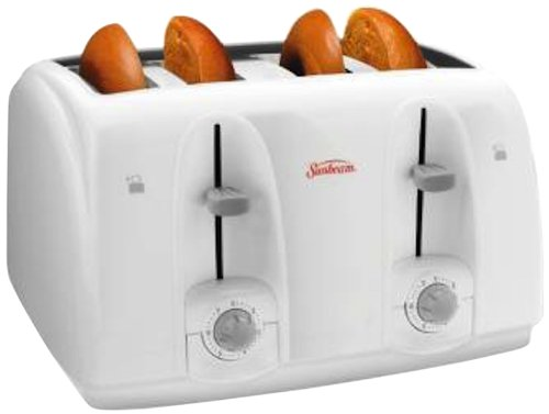 Sunbeam 3823-100 4-Slice Wide Slot Toaster, White (4 Slice White Toaster)
