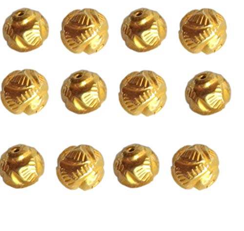 Solid 22 Carat (22K) Yellow Fine Gold 7MM Antique Round 8 Pieces Handmade Beads ()