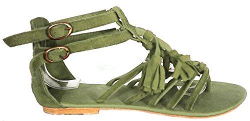 Green Otra Piel de Vestir Kaki Sandalias de 11sunshop Mujer wnxza0a