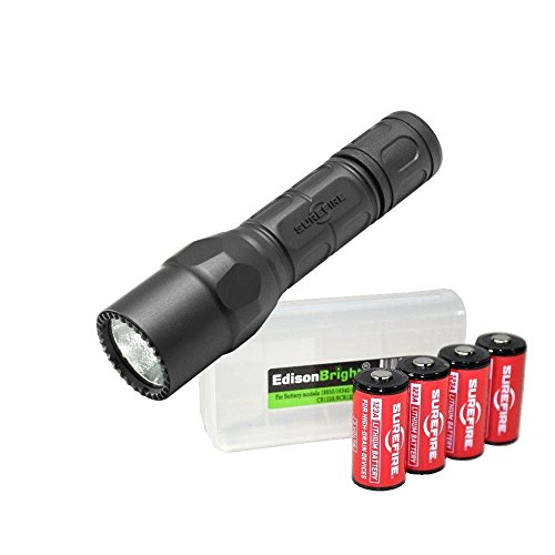 EdisonBright SureFire G2X LE (Law Enforcement) Dual Output 400 Lumens LED Compact Professional Flashlight, Black w/ 4 X SureFire CR123A Batteries BBX3 Battery Carry case Bundle