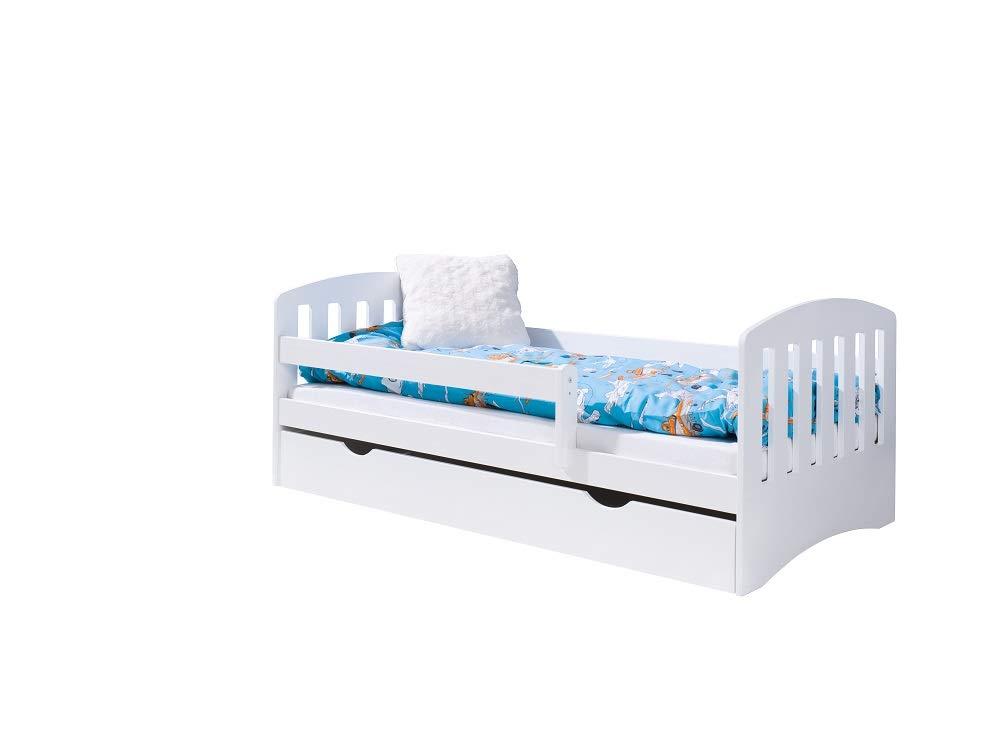 Jugendbett Juniorbett Bett Komplett Bett mit Matratze f/ür Kinder ab 2 jahren Kinderzimmer Funktionsbett M/ädchen Junge Wei/ß Lattenrost und Schublade LULU Kinderbett LUKAS 160x80
