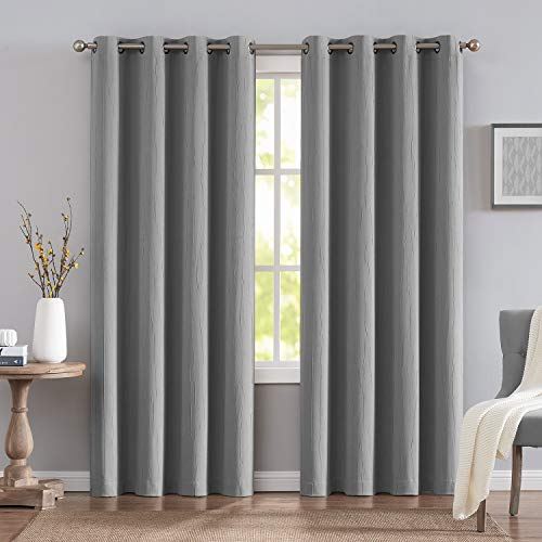 Blackout Curtains Grey for Bedroom 96 Inch Long Crinkle Texture Heat and Light Blocking Window Drapes 2 Panels Grommet Top