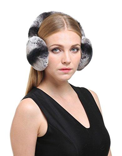 Vogueearth Women'Real Rex Rabbit Fur Winter Warmer Earmuffs Black-Gray by vogueearth