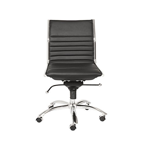 Euro Style Dirk Leatherette Adjustable Office Chair with Chromed Steel Frame and Base, Low Back, Black