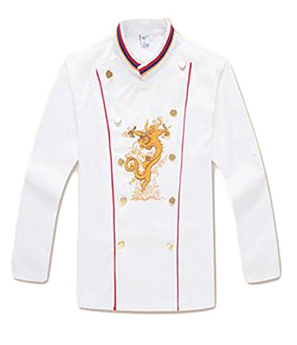 ONTBYB Men's Unisex Classic Embroidered Dragon Coat with Contrast Cuffs and Collar White (Classic Embroidered Coat)