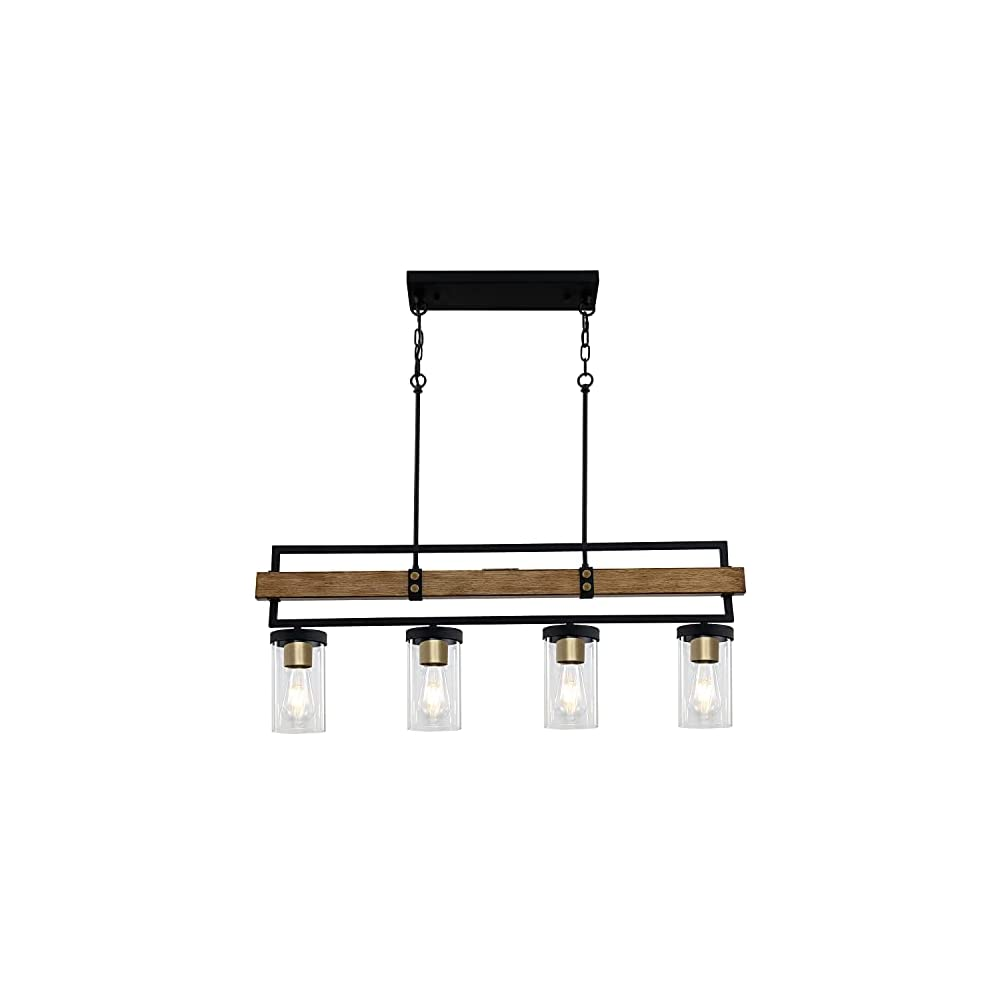 """ALAISLYC 4-Light Kitchen Island Lighting Fixtures,36"""" L Farmhouse Pendant Lights Ceiling Hanging,Black and Gold,JF2058-P4"""