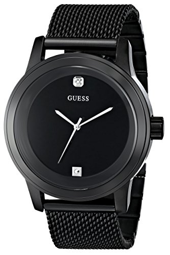 GUESS-Mens-U0297G1-Diamond-Accented-Black-Mesh-Watch