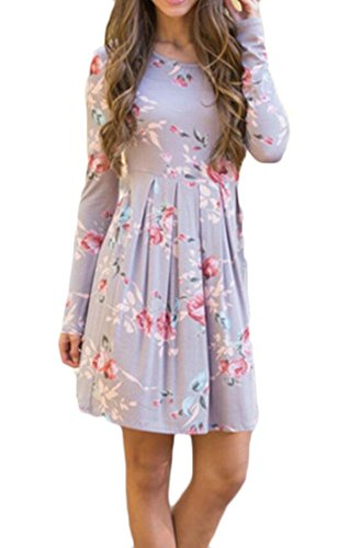 Party Flared Floral Dress Sleeve Domple Grey Mini Long Casual Pleated Womens w46SZxC