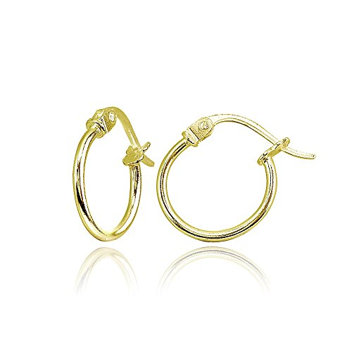 Yellow Gold Flashed Sterling Silver Tiny Small 12mm High Polished Round Thin Lightweight Unisex Click-Top Hoop Earrings