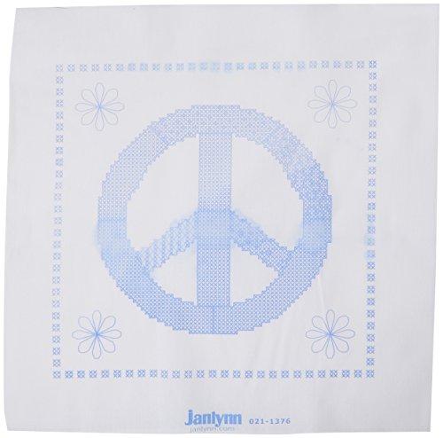 Janlynn Stamped Cross Stitch Quilt Blocks, Peace - Block Quilt Panel Fabric