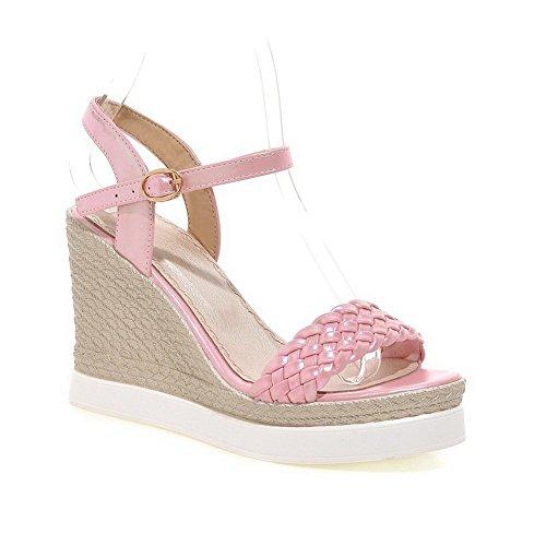 Adee Ladies Braid American Muffin Buttom Polyurethane Sandals Pink